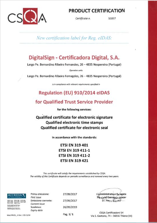 DigitalSign - Certificação eIDAS ETSI  EN 319