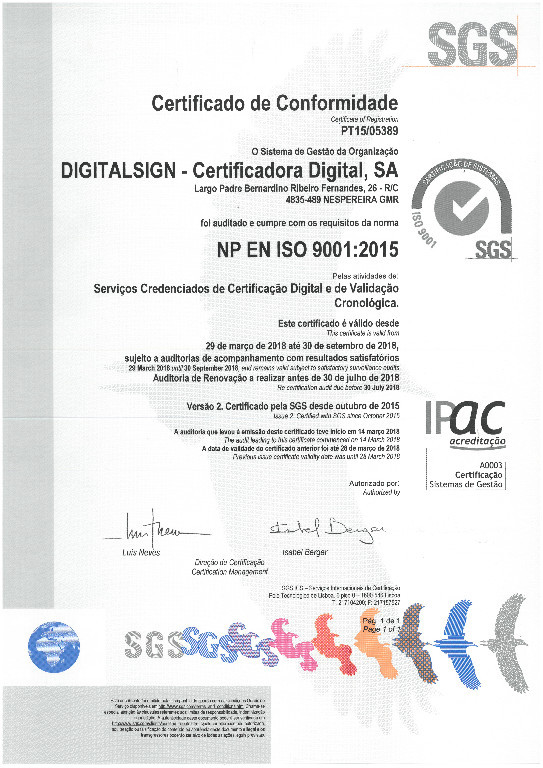 DigitalSign - Certification Transition to ISO 9001:2015 and Maintenance ISO / IEC 27001:2013