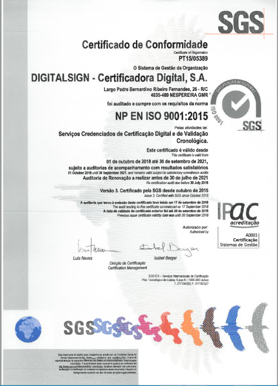 DigitalSign - Renewal of ISO 9001:2015 and ISO/IEC 27001:2013 certification