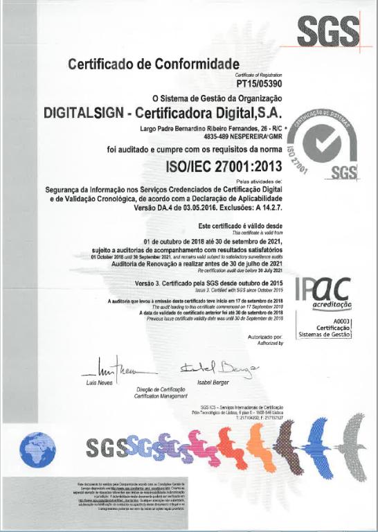 DigitalSign - Renovação da Certificação ISO 9001:2015 e ISO/IEC 27001:2013